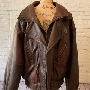 Wilsons Brown Leather Lined Jacket Size Large